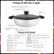 Bếp lẩu điện inox 2 ngăn 32cm, Nồi lẩu đa năng đồ dùng nhà bếp tiện lợi cho bếp  từ và bếp gas ..