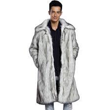 men s fur coat long sleeve winter faux fur fox fur white l