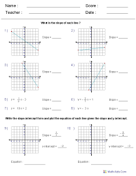 Algebra 1 Worksheets | Linear Equations Worksheets inside Writing ...