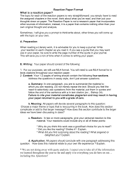 reaction paper format