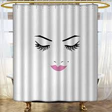 anhounine eyelash shower curtains waterproof long closed eyes pink lipstick glamor makeup cosmetics beauty feminine design satin fabric bathroom washable