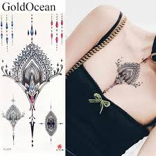 черный подвески поддельные ювелирные изделия временные татуировки