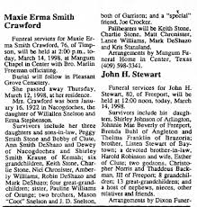 Obituary for Maxie Erma Smith Crawford, 1922-1998 (Aged 80) - Newspapers.com
