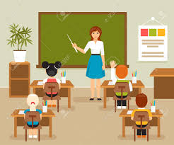 classroom table vector. school lesson with the teacher at blackboard. classroom. children a desk classroom table vector d