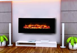 image of fire sense black wall mounted electric fireplace