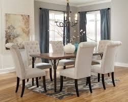 tripton rectangular dining room table 6 uph side chairs d530 01