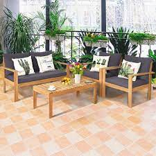 gymax 4pcs cushioned wooden