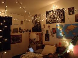 small bedroom spaces decoration with hanging string lights ideas