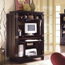 winsome appealing black dazzling corner computer armoire with lockable computer desk