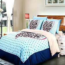 light blue polka dot brown leopard skin printed bedding sets twin full queen king size bed
