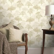 Tree Design Wallpaper Living Room Creative Idea Living Room With Cream Sofa And Cream Cushion Also