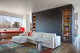 Black Natural Stone Wall Feature Living Room contemporary-living-room