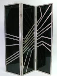 art deco modern furniture. Art Deco Three Leaf Black Backlit And Brass Screen With Diagonal Stripe Design Modern Furniture A