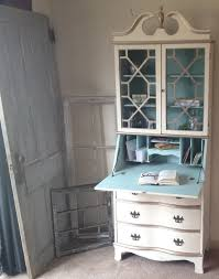 hand made vintage secretary hutch cabinet desk small painted distressed by