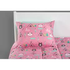 pink kids bedding set woodland safari for girls bed full size for girl gift