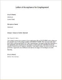 Employment Acceptance Letter Letter Of Acceptance For Employment Writeletter2 Com