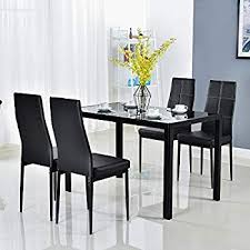 bonnlo modern 5 pieces dining table set gl top dining table and chairs set for 4 person black