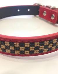 pure leather rhinestone choker pet collar dog collar checker color red