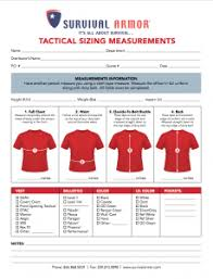 Sizing Charts For Male Body Armor Female Body Armor