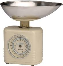 Small Kitchen Weighing Scales Typhoon Novo Cream Stainless Steel Mechanical Kitchen Weighing