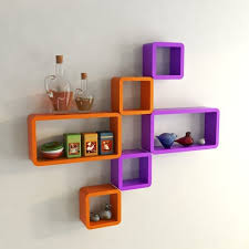 Purple Floating Shelves Delectable DecorNation Cube Rectangle Wall Shelves Orange Purple At Rs 32