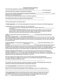Lease Agreement Example 30 Sample Roommate Rental Agreement Andaluzseattle