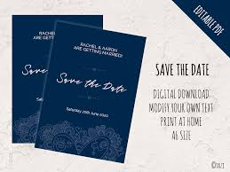 Print Your Own Save The Date Editable Save The Date With Navy Doodle Heart Digital Download
