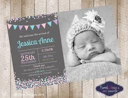 Baby Thankyou Birth Announcement Girl Printable Baby Thank You Card Confetti