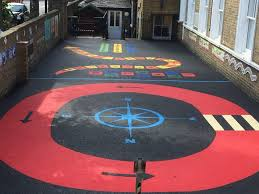 rubber play surface red roadway compass