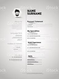 Minimalist Cv Resume Template With Simple Design Vector Stock