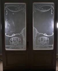 etched glass panels for doors pair of antique french etched glass doors frosted stained glass seasons