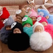 Small Flower Baby Doll Fake Fur Fluffy Ball Key Chain Bag ... - Vova