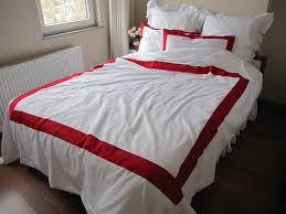 white duvet cover with red border on top  pcs modern bedding