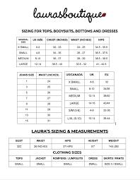 Size Chart Lauras Boutique