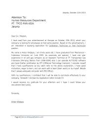Resume Letter For Fresh Graduate Sample Of Job Application Letter
