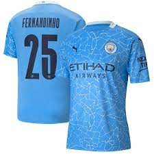 Manchester City Cup Home Shirt 2020-21 with Fernandinho 25 printing