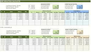 Credit Payoff Calculator Debt Snowball Calculator Template Reduction Spreadsheet