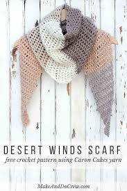 Crochet Scarf Pattern Free Cool Free Caron Cakes Crochet Pattern Desert Winds Triangle Scarf