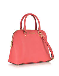 large dome satchel blossom pink leathersilver bag gallery womens michael kors cindy