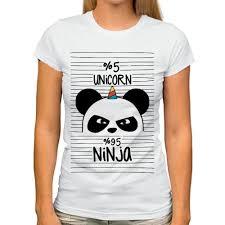 cute panda ninja keep calm and be a pandicorn <b>funny t shirt Women</b> ...