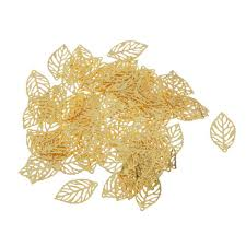 lot 100 gold plated metal tree leaf