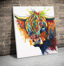 artwork highland cow canvas