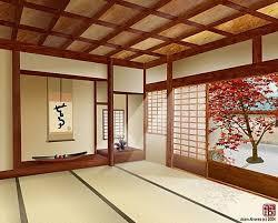 japanese style lighting. Lighting In Ceiling Living Room Japanese Sliding Door Beside Balcony Vases Corner Creative Shelves The Nearby Dark Wooden Platform Bed Green Wall Style