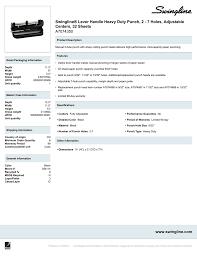 Swingline Light Touch 2 To 7 Hole Adjustable Punch Swingline Lever Handle Heavy Duty Punch Manualzz Com