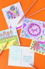 coloring postcards.  Postcards Free Printable Cake Coloring Postcards  Studiodiycom To S