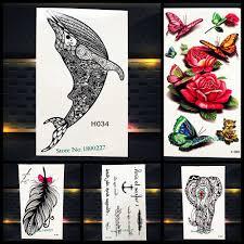 одноразовые временные татуировки стикеры черный менди хной рыба дельфин кит