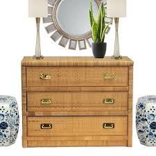 rattan console table. Vintage Rattan \u0026 Brass Hardware Chest Of Drawers Console Table - Image 3