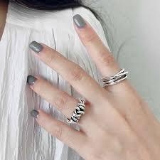 <b>Silvology 925 Sterling Silver</b> Irregular Wide Rings Matter Handmade ...