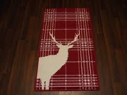 modern approx 4x2 60cm x 110cm novelty range new checked stag red cream rugs