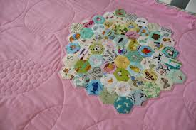 Grace and Favour: I SPY -- A HEXIE QUILT FINISH & It didn't take long to whipstitch them all together and then appliqué them  down to a background. For the quilting I traced around some pot lids and  decided ... Adamdwight.com